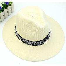 5 Color Men Wide Brim Jazz Hat Cap Travel Beach Straw Panama Cowboy Sunhat Topee