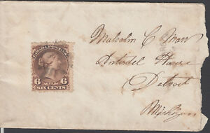 #27 Large Queen On Cover With Fancy Cancellation. Brookvile To Detroit Michigan