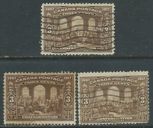 Canada #135(5) 1917 3 cent brown FATHERS OF CONFEDERATION 3 Used CV$9.00