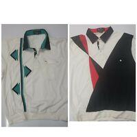 2 Vintage Alan Stewart short sleeve Shirts rockabilly bowling banded waist sz XL