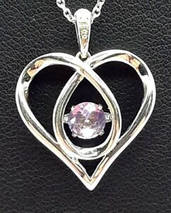 Sterling Silver 925 Dancing Purple Amethyst CZ Bail Swirl Loop Necklace 18""