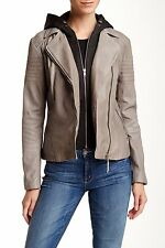 $585 Soia & Kyo Moto Leather Jacket Daniela S Grey