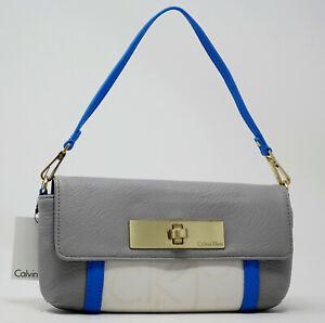 NEW Calvin Klein Women's Grey Blue White Convertible Wallet Wristlet Small Purse