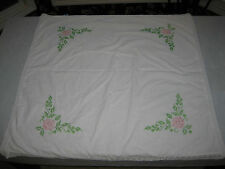 Vintage Small Square Table Cloth Cross Stitch Pink Roses, Lace Edge 39.5 X 39