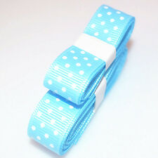 "3yds 5/8""(15 mm) blue Christmas Ribbon Printed lovely Dots Grosgrain"