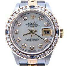Rolex Datejust Lady 18K Yellow Gold Steel Watch White MOP Diamond Blue Sapphire