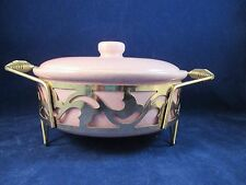 Bauer Pink Grey Spatter MCM California Pottery Covered Casserole Brass Stand