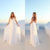 New A Line V Neck Lace Wedding Dress Backless Beach Boho White Bridal Gown