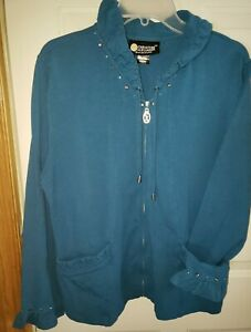 Christine Alexander Women's Turquoise Rhinestone Jacket Size x-L