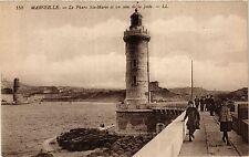 CPA MARSEILLE Le Phare Ste Marie et un coin de la Jetee (405028)