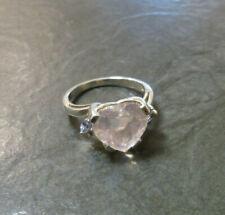 Silberring MDI Morganit Herz rosa + 4x Tansanit 925er Sterling Silber Gr. 60,5