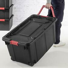 Wheeled Storage Container Box Crate Organizer Heavy Duty 40 Gallon Black 2 Pack