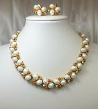 Vintage CROWN TRIFARI SOUTHAMPTON Faux Pearl & Coral Necklace & Earrings