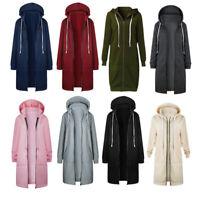 Damen Mode Herbst Winter Reißverschluss Lange Kapuzen Mantel Jacke Damen B9T5