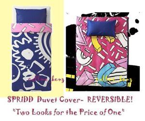 IKEA Spridd Duvet Cover Limited Ed Reversible Twin Indigo Blue/Pink Pillowcase