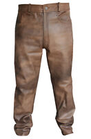 Men's Classic Vintage Brown Leather Diamond Jacket Matching Biker Pants Trousers
