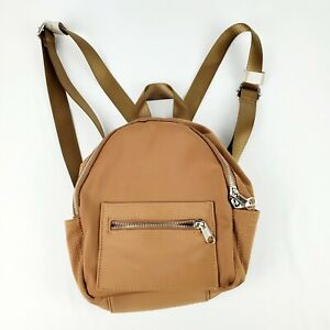 Urban Outfitters UO Small Mini Nylon Backpack Bag Top Handle Adjustable Brown