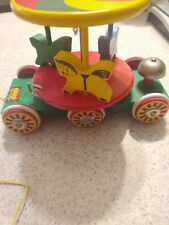 Vintage Brio Red, Green & Yellow Merry Go Round Carousel Wood Pull Toy~Sweden~