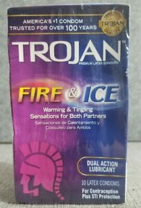 Trojan Fire & Ice Dual Action Lubricated Condoms - 10 Count.+