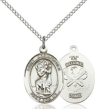 925 Sterling Silver St Christopher Nat'l Guard Military Catholic Medal Necklace