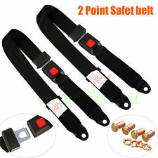 2* Black Universal 2 Point Retractable AUTO Car Seat Lap Belts Adjustable Safety