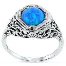 BLUE LAB OPAL ANTIQUE ART DECO STYLE 925 STERLING SILVER RING SIZE 10,  #106