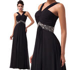 Black Long Formal Evening Prom Party Maxi Dresses Bridesmaid Gown Plus Size 6-20