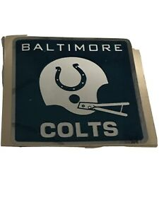 1970's BALTIMORE COLTS 4 inch 2 BAR HELMET PAPER BACK DECAL STICKER Unused