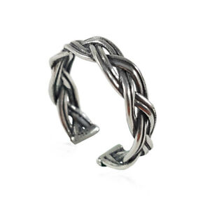 Solid Sterling Silver Ring .925 - Braided Weave Style - Open & Adjustable - New