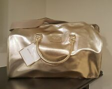 MICHAEL KORS GOLD METALLIC WEEKENDER TRAVEL DUFFLE GYM TOTE BAG NEW