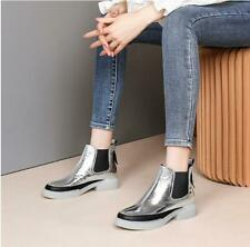 Womens Fashion Metallic Leather Elastic Top Pull On Bootie Ankle Boots Shoes OKS
