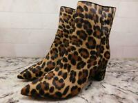 J.Crew womens $248 Sadie pointed toe ankle boots leopard calf hair 5 shoes AB113