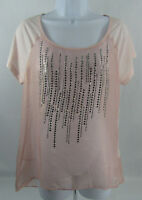 Daytrip Buckle Womens Blouse Top Size Medium Pink Sequin Sheer
