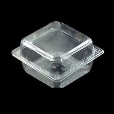"""60PC BOPS Plastic 4"""" Square Food Take Out Clam-shell Container Cake Cookie S-32"""