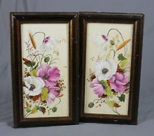 Vintage Pair of Framed Hand Painted Floral Tiles