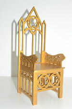 GOLD Gothic Throne for dolls 12 inch Furniture chair 1:6 Barbie FR wooden OOAK