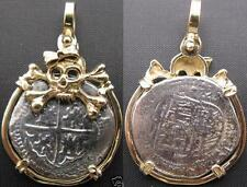 Anne Bonny 14K Solid Gold Skull Girl Bow Shipwreck Treasure Coin Replica Pendant