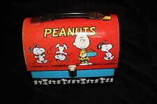 Vintage Peanuts Charlie Brown Snoopy   Tin Dome Tote Lunch Box Vandor