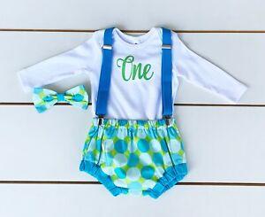 SALE! Blue & Green Spotty 4 Piece Cake Smash Outfit - First Birthday Set - Boy