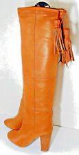 FORNARINA Golden Brown  Leather Over-the-Knee Boots w Drawstring/Tassels Top, 7
