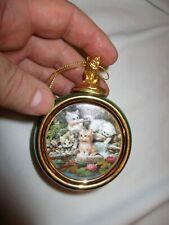 Vtg Bradford Exchange Heirloom Porcelain Kitten Expeditions Christmas Ornament