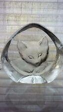 "Vintage Scandanavian  Mats Jonasson ""Kitten"" Glass Paper Weight"