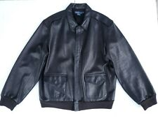 VTG 80s Polo Ralph Lauren Genuine Black Leather Zipper Bomber jacket men's XL