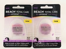 Lot Of 2! Reach Total Care Fresh Mint Floss with Listerine Flavors 30 yd