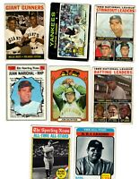 Willie Mays Hank Aaron Thurman Munson RC Old Baseball cards 8 lot Low Grade Ruth