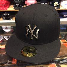 New Era New York Yankees Fitted Hat Cap BLACK/SILVER BADGE jordan 5 OG metallic