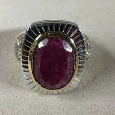 Sterling Silver Natural Ruby Coctail NF Ring 7""