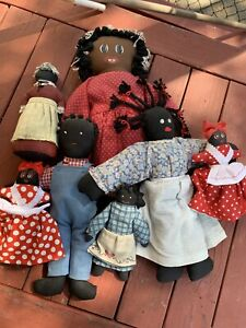 Vintage Black Americana Rag Doll Folk Art Cloth Handmade Dolls - Lot of 7