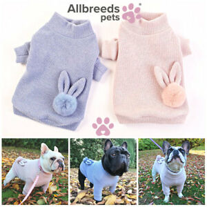 Allbreeds Fur Pom Knitted Dog Jumper Puppy Wool Coat Pug French Bulldog Jacket