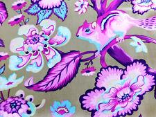 Fq Chipper Tula Pink Raspberry Chipmunk Floral Free Spirit Cotton Fabric Quilt
